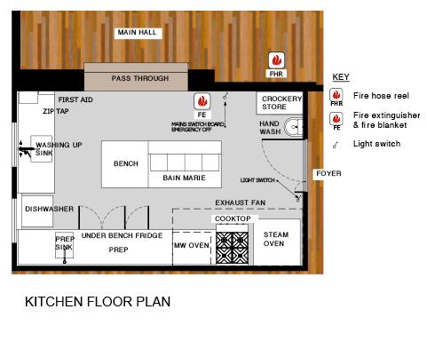 Commercial Kitchen Floor Plan main hall | maleny community centremaleny community centre